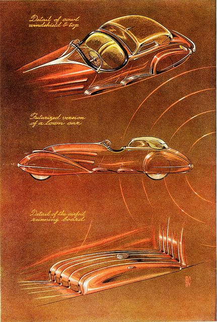 Automotive Designs by Alexis de Sakhnoffsky, 1934 by aldenjewell, via Flickr