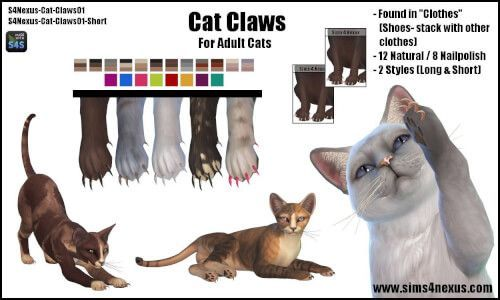 Cat Claws For The Sims 4 By Sims 4 Nexus Sims 4 Pets Sims Pets Sims 4