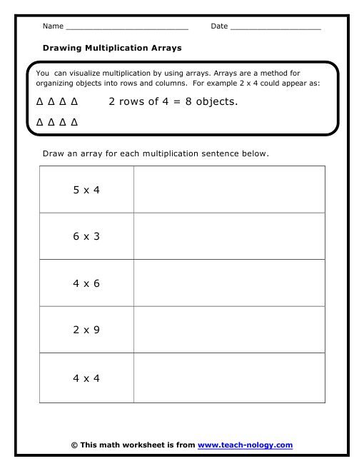 math worksheet : array worksheets  standards met visualizing multiplication  the  : Multiplication Using Arrays Worksheet
