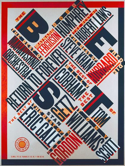 by paula scher, creative layout using 4 key colours, and a mixture of thick/thin, tall/light typefaces.