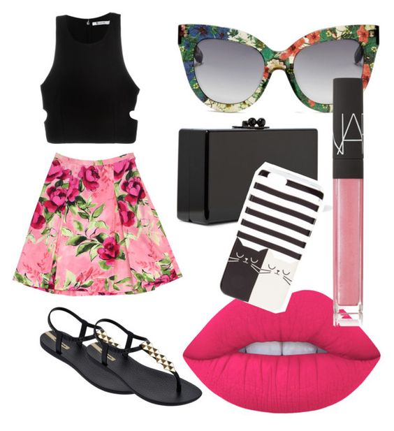 """""""Obsessed with floral"""" by mychemicalbeauty on Polyvore featuring Love Moschino, T By Alexander Wang, IPANEMA, Edie Parker, Lime Crime, NARS Cosmetics, floral and obsessed"""