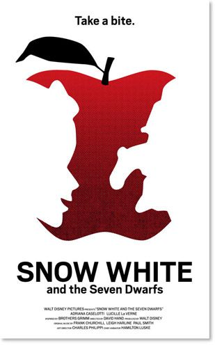 Really good poster idea for snow white, good use of negative space