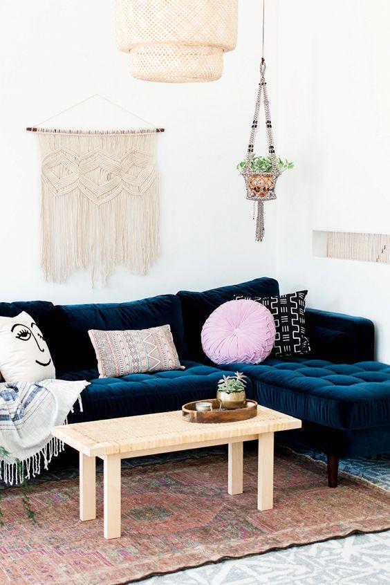 Harlow Sectional Sofa Blue Velvet Edloe Finch Furniture Co Modern Sofa Sectional Mid Century Modern Sectional Sofa Mid Century Modern Sectional