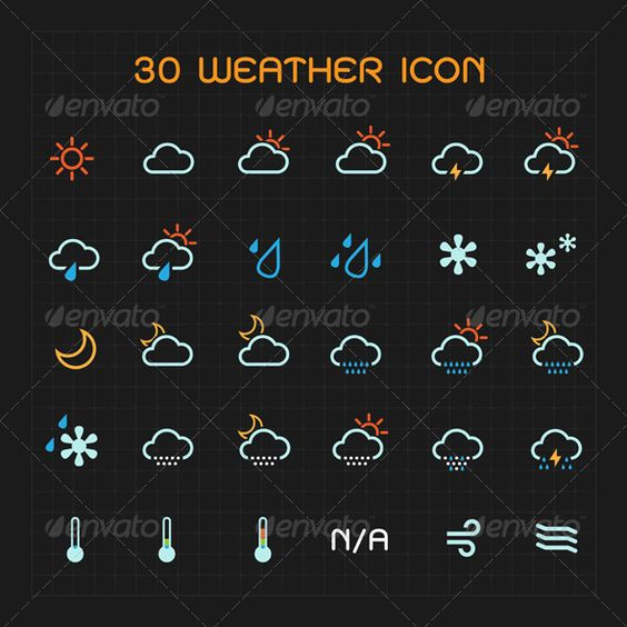Color Weather Icon Set Tatoo, Extreme weather and