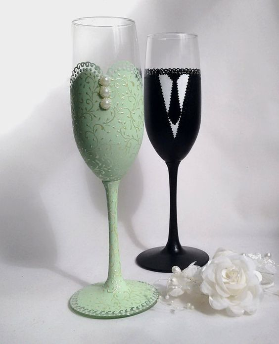 Mint Green Bride And Groom Champagne Glasses Wedding Flutes Wedding Toasting Glasses Mint