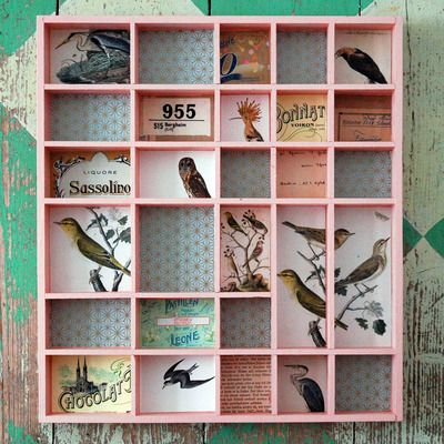 This link doesn't work, but I still wanted to pin it, it's so pretty...birdies and repurposed shadow box