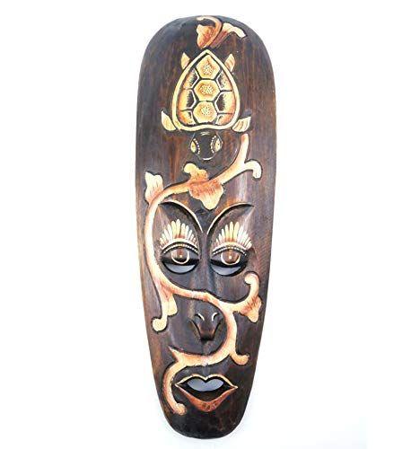 Masque Africain en Bois 50cm Motifs color/és D/éco Murale Ethnique.