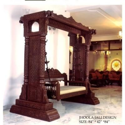 Indian traditional swing jhoola beautifully carved from for Living room jhula