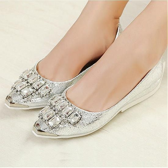 Flats Shoes | New Design Silver PU Diamond Pointy Closed Toe Flats - Hugshoes.com