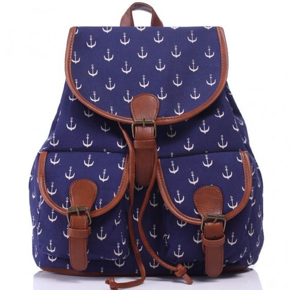 I am so happy to find the Leisure Navy Blue Anchor Rucksack Girl College Canvas…