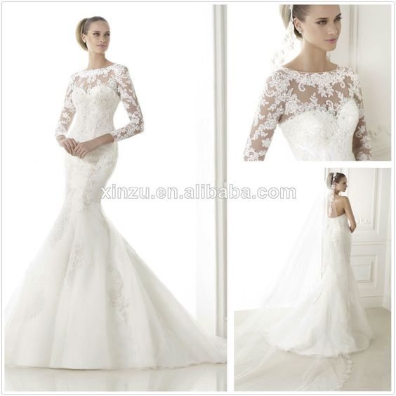 Wedding Gown Patterns With Sleeves: Detachable Long Sleeves Jacket Illusion Neckline Lace
