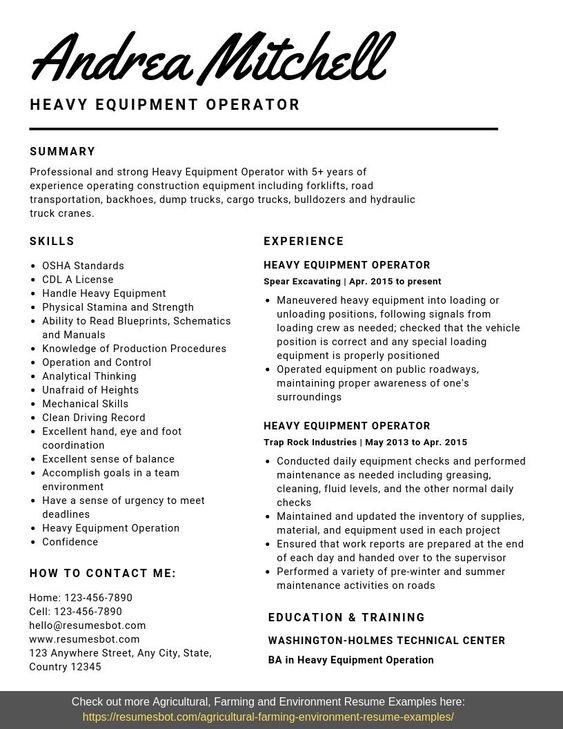 Heavy Equipment Operator Resume Samples Templates Pdf Word 2020 Heavy Equipment Operator Resumes Bot Resume Examples Heavy Equipment Operator Cover Letter For Resume