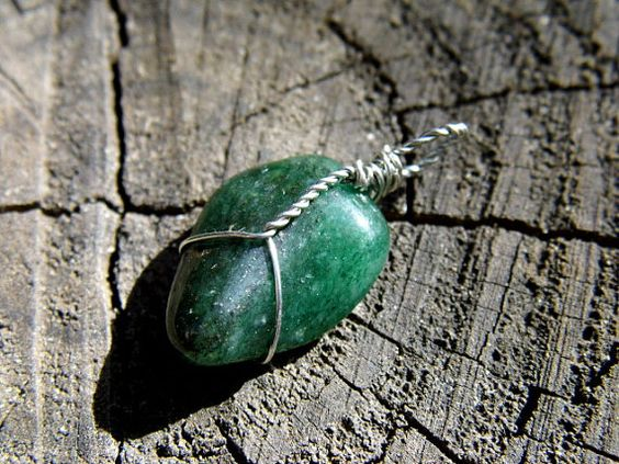 Wire Wrapped Green Aventurine Pendant Charm by TheRainbowChildren