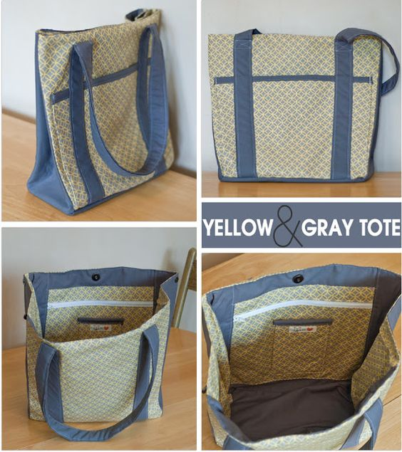 Yellow & Gray Tote Bag |