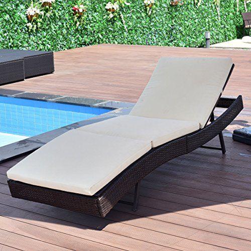 Tangkula Patio Reclining Chaise Lounge Outdoor Beach Pool Yard