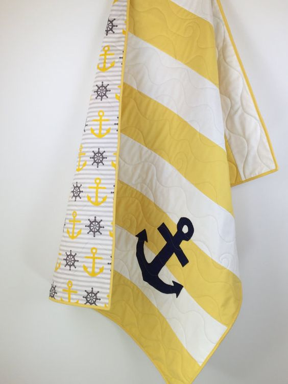Yellow Nautical Baby Quilts nautical baby by BabyQuiltsbyRomiW: