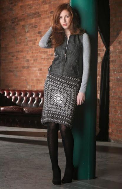 Granny squares .. crochet skirt: