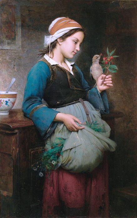 Hublin, Emile-Auguste (b,1830)- Girl Feeding Bird, 1872