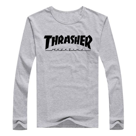 Thrasher Magazine Long Sleeve Gray T-Shirt