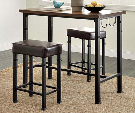 Luke Industrial 3 Piece Pub Table Set With Hooks With Images