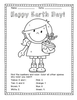 earth day color by number activities earth day activities and colors. Black Bedroom Furniture Sets. Home Design Ideas