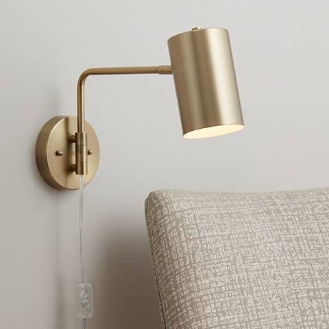 Carla Brushed Brass 12 High Down Light Swing Arm Wall Lamp 39w58 Lamps Plus Swing Arm Wall Lamps Wall Lamps Bedroom Plug In Wall Sconce