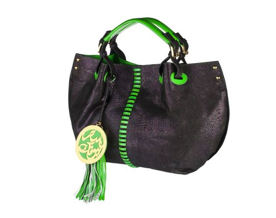Weekender - Black Caviar Embossed Genuine Italian Leather with Green Patent Leather