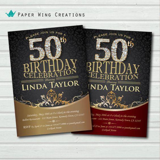 Golden 50th birthday Invitation. Adult Birthday. Man or Woman. Elegant gold black damask birthday invite. Glam & Grand diamond spark. AB35