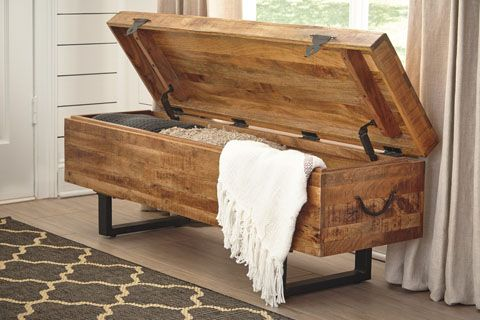We Love Extra Storage Anywhere We Can Find It Rustic Wood Bench Metal Legs Wood Storage Bench Bench With Storage Furniture