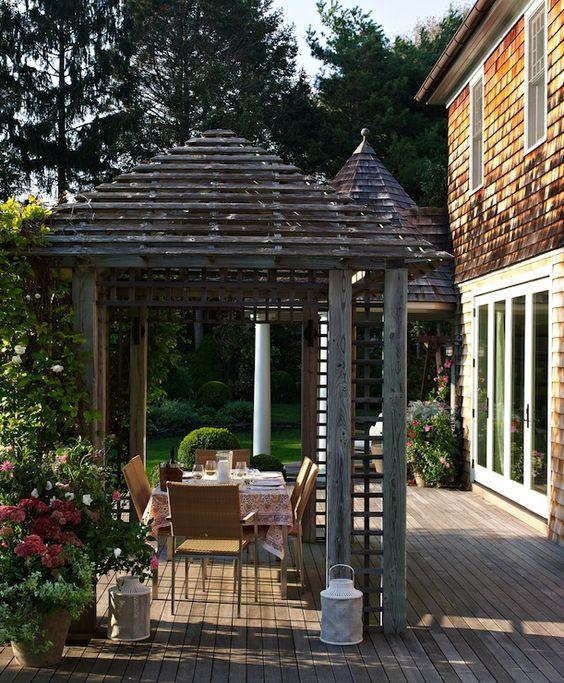 Bella Mancini Design - decks/patios - deck, cedar shingles, cedar shingle siding, pergola, deck pergola, contemporary outdoor dining set, co...
