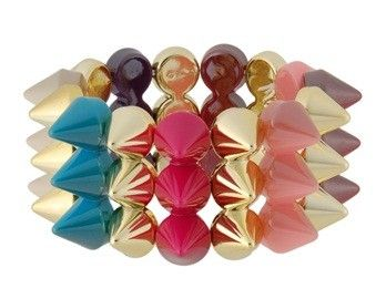 I checked out Acrylic Punk 3 Row Conical Bracelet (Colorful) on Lish, $25.00 CAD
