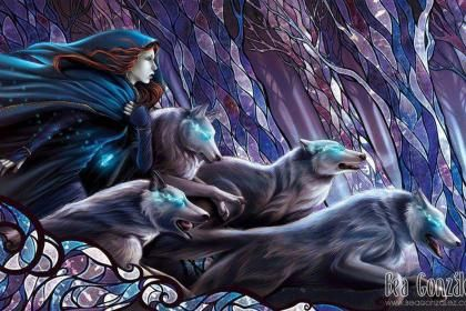 """Running with the wolves - (#121742) - """"To run with the wolf was to run in the shadows, the dark ray of life, survival and instinct. A fierceness that was both proud and lonely, a tearing, a howling, a hunger and thirst. Blessed are they who hunger and thirst"""" -O.R. Melling"""