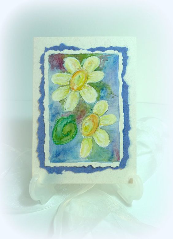 Storm Petals Watercolour Floral Art card Recycled by McRtyCards