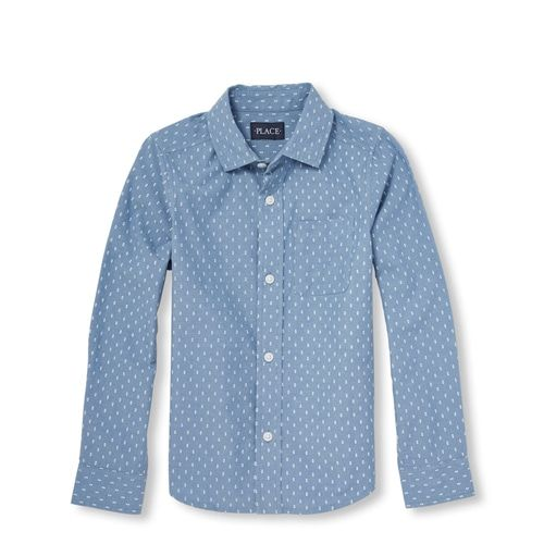 The Childrens Place Baby Boys Printed Long Sleeve Poplin