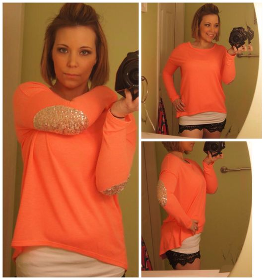 Neon Coral Sequin Elbow Top Hi-low hem $32 always free shipping Www.bluelayneboutique.storenvy.com