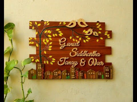 How To Make Wooden Nameplate Easy Door Nameplate For Beginners Handcrafted Diy Best Out Of Waste Yo In 2021 Name Plate Design Wooden Name Plates Door Name Plates