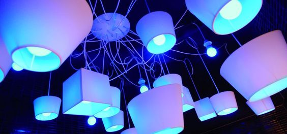 Restaurant Flinstering, Breda, Netherlands.  Ceiling Lamp.  Philips Lighting installation.