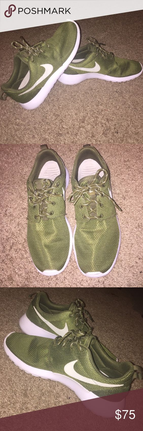 Olive Nike Roshes!! Hardly worn! In almost new condition! Size 8 in women's, and as far as I'm concerned they run true to size. Perfect fall color 🍂 reasonable offers welcome! Nike Shoes Sneakers