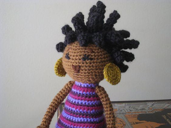 HÄKELANL... - Afrikanisch-Prinzessin und die Erbse Puppe Plüsch Amigurumi sperrt Dreads natürliche schwarz Haar gefüllte Spielzeug Baby Girl...