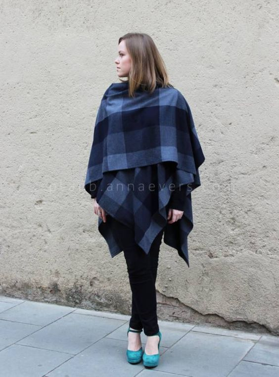 Blue Blocks Cape shawls
