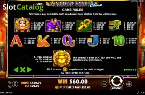 Paytable Ancient Egypt Classic Video Slot From Pragmatic Play