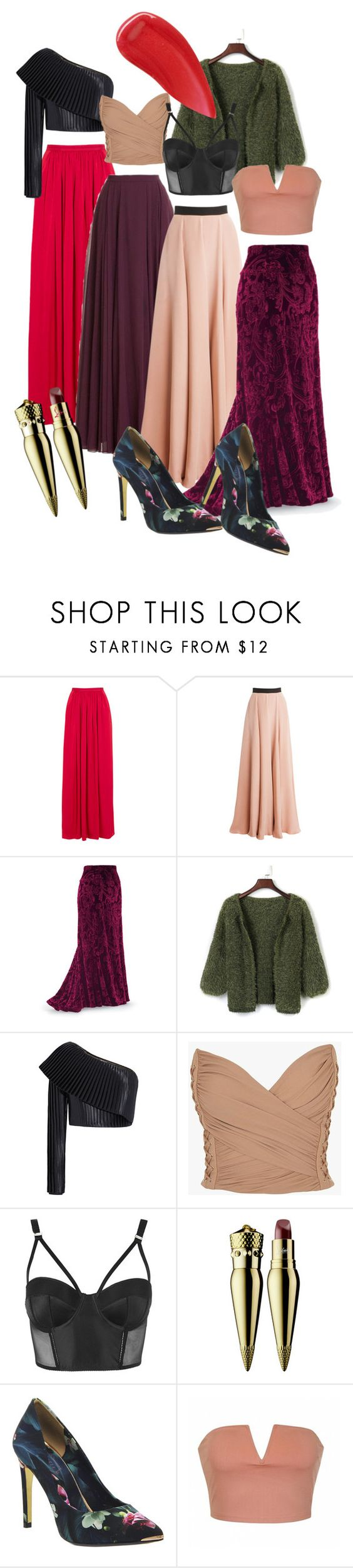 long skirts by dodo85 on Polyvore featuring Balmain, WithChic, Ally Fashion, Roksanda, Needle & Thread, Topshop, Ted Baker, Christian Louboutin, Burberry and Halston Heritage