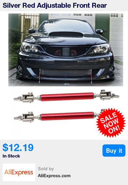 Universal Adjustable Front Lip Splitter Frame Bumper Protector Rod Support~Red