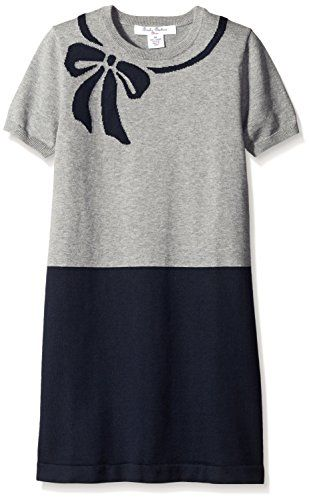 Brooks Brothers Girls Big Girls Bow Intarsia Dress NavyGray Color Block Medium *** Check out the image by visiting the link.