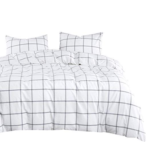 Dark Gray Duvet Cover Set 100/% Cotton Bedding Wake In Cloud Zipper Closure Grey with White Geometric Pattern Printed 3pcs, Queen Size