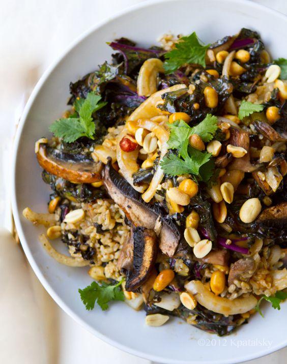 Spicy-Peanut Portobello Kale Rice Bowl