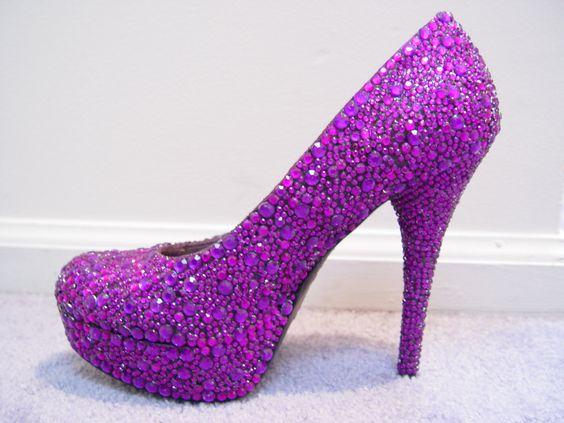 Pink Purple Rhinestone High Heel Shoes (possible DIY) | DIY ...