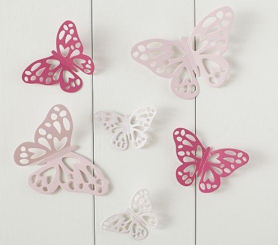 Paper Butterfly Stick-On Decor Set   Pottery Barn Kids