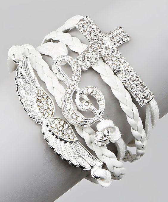 Bubbly Bows White Music & Cross Bracelet by Bubbly Bows #zulily #zulilyfinds