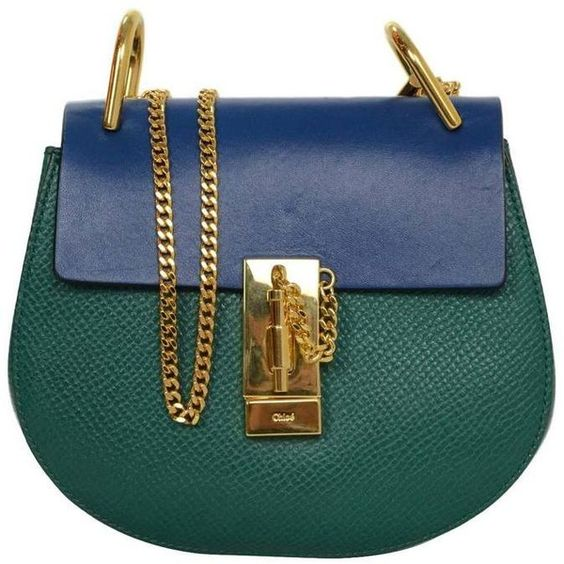 purses chloe - Preowned Chloe Blue And Green Bicolor Drew Small Crossbody Bag Ghw ...